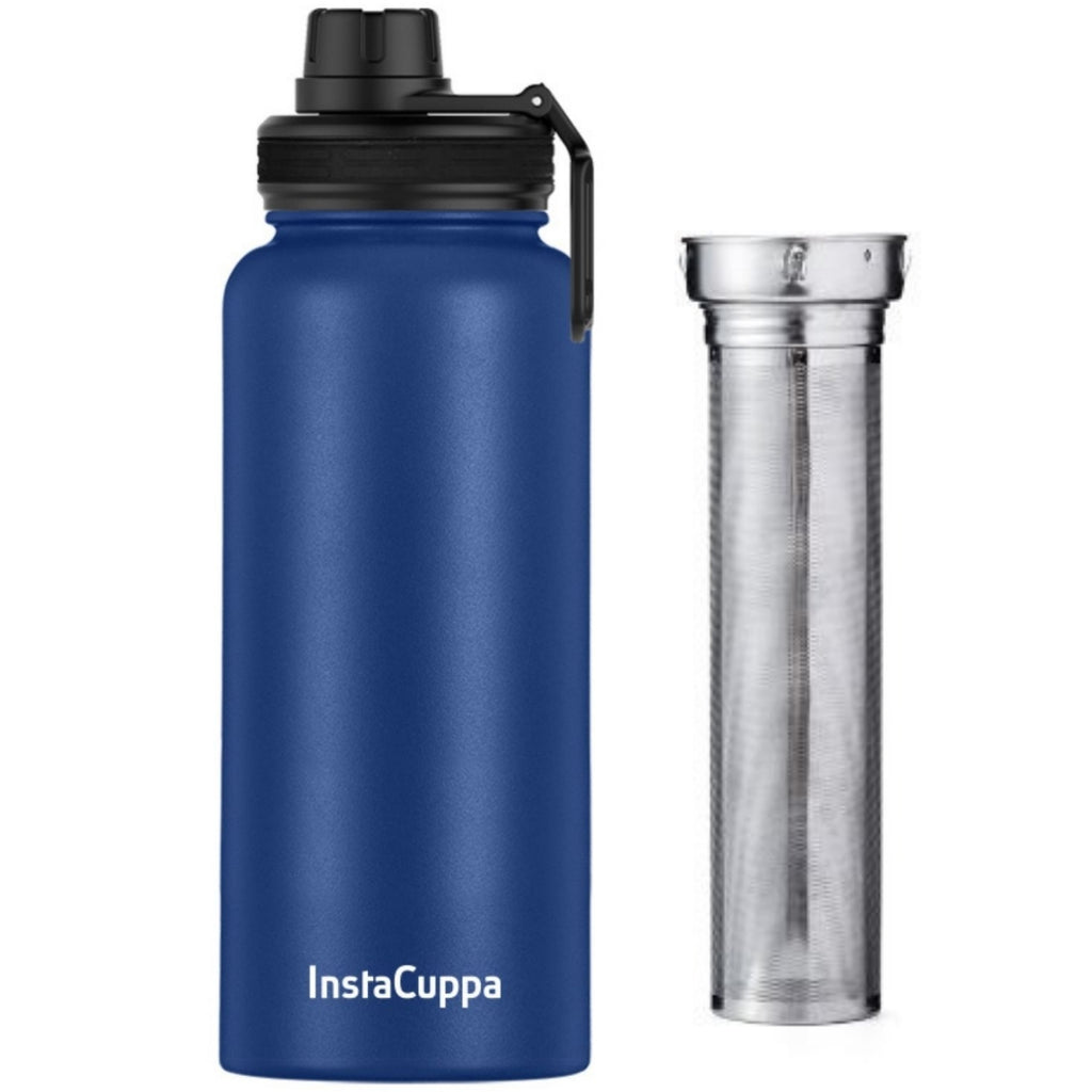 Blue InstaCuppa Thermos water bottle