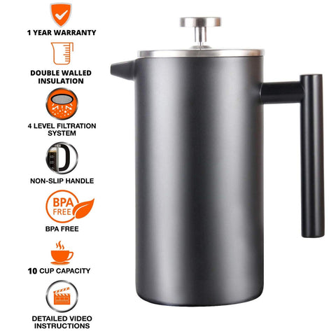 InstaCuppa French Press Coffee Maker with 4 Level Filtration
