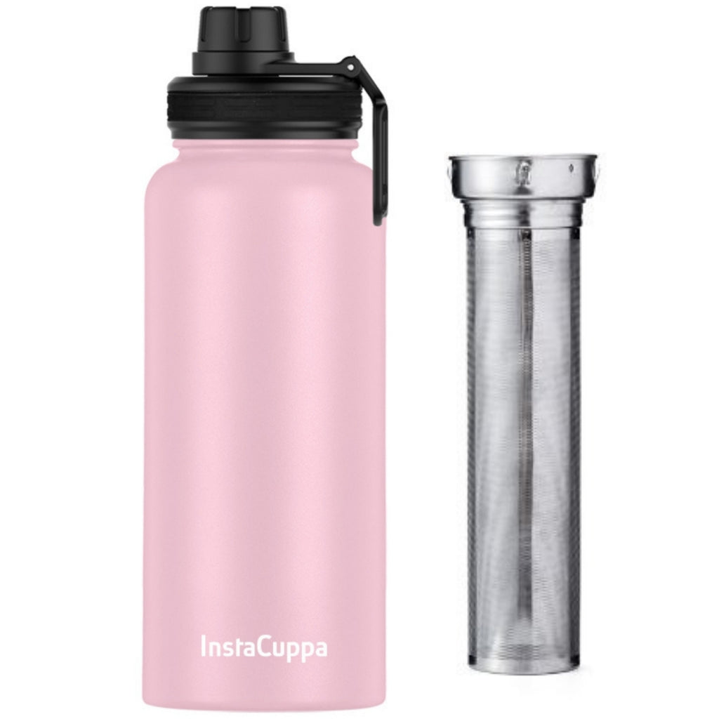 InstaCuppa Thermos Fruit Infuser Water Bottle 1 Litre with Double Walled Vacuum Insulation, Full Length Stainless Steel Infusion Unit, 2 Lids