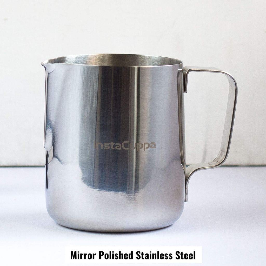 InstaCuppa Milk Frothing Pitcher Jug - 600 ml, Measurement Markings, Mirror Polished Stainless Steel Pot, Easy to Pour V-Spout, Heat Resistant Handle