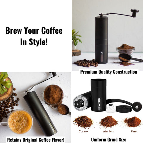 InstaCuppa Manual Hand Coffee Bean Grinder - Brew Your Coffee In Style - Black Color