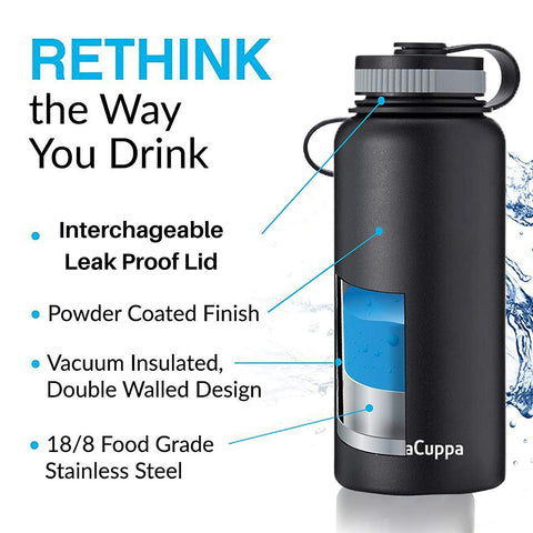 InstaCuppa Thermos Bottle with Wide Mouth Lid 1000 ML/550 ML, Double-Wall Thermos Flask, Vacuum Insulated Stainless Steel | Retains Hot and Cold Temperatures