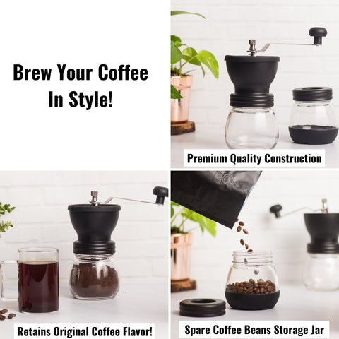 InstaCuppa Manual Coffee Bean Grinder Mill with 2 Glass Jars, Stainless Steel Burr and Adjustable Grind Settings
