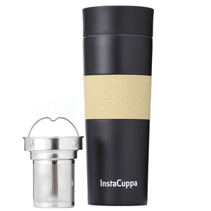 InstaCuppa Vacuum Insulated Coffee, Tea Travel Mug 470 ML, Stainless Steel Infuser Unit, Sipper Lid with Filter, Silicon Grip
