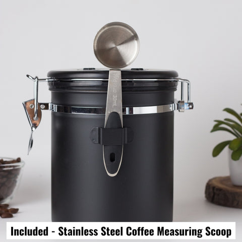 Image of InstaCuppa Stainless Steel Coffee Canister, Airtight Container with Date Tracker Jar, CO2 Release Valve and Coffee Scoop, 500 Grams, Black