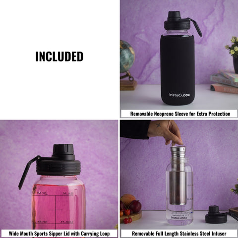 InstaCuppa BPA Free Borosilicate Glass Infuser Water Bottle 1000 ML, Includes Wide Mouthed Sports Sipper Lid, Full Length Stainless Steel Infuser and Neoprene Sleeve for Extra Protection