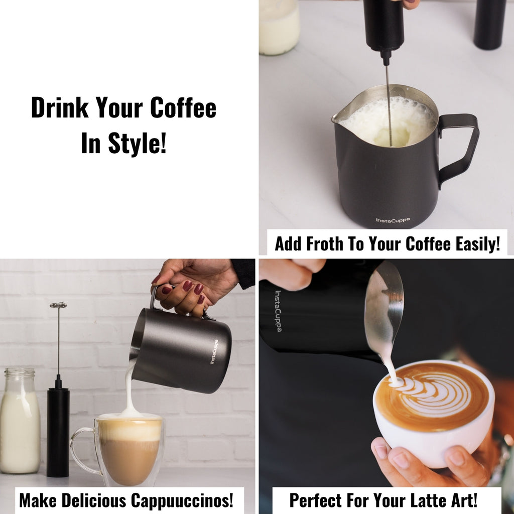 InstaCuppa Stainless Steel Milk Frothing Pitcher with Measurement Markings, Easy to Pour V-Spout, Idle for Latte Art