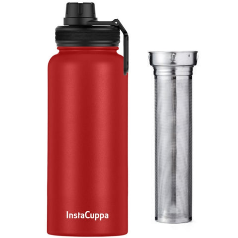 Image of InstaCuppa Thermos Fruit Infuser Water Bottle 1 Litre with Double Walled Vacuum Insulation, Full Length Stainless Steel Infusion Unit, 2 Lids