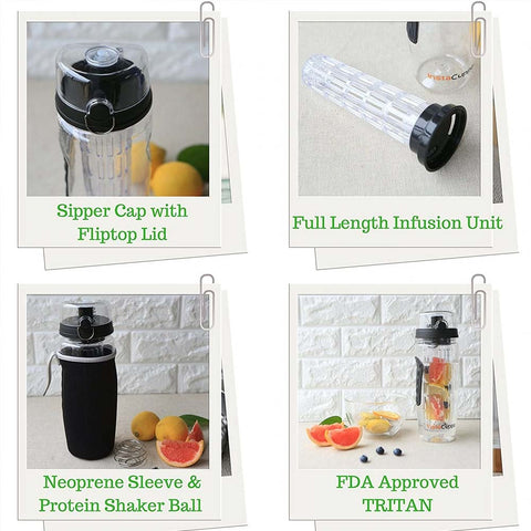 InstaCuppa Fruit Infusion Bottle with Full Length Infuser,1 Litre