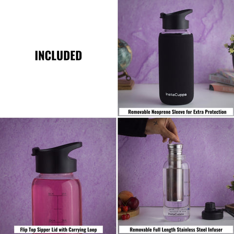 Image of InstaCuppa BPA Free Glass Infuser Water Bottle