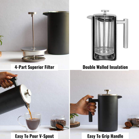 InstaCuppa Double Walled French Press Coffee Maker