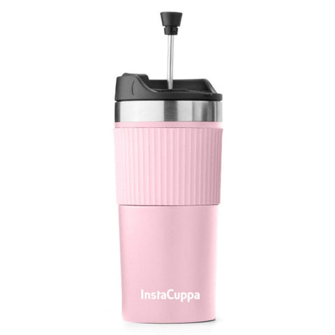 InstaCuppa Thermos Travel French Press Mug, Stainless Steel Mesh Filter, Double Walled Vacuum Insulation, Silicone Grip