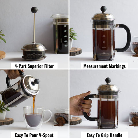 French Press Coffee Maker with 4 PART Filter
