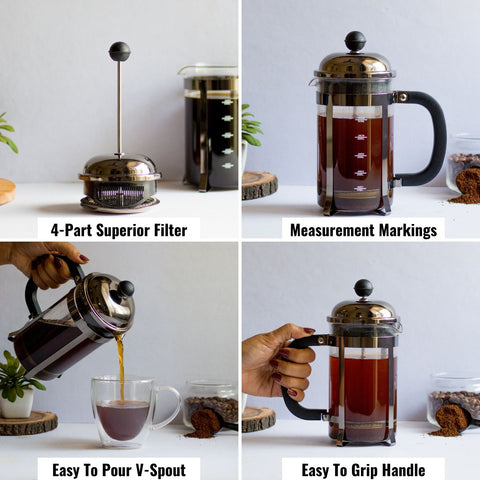 FrenchPress Coffee Maker with Measurement markings