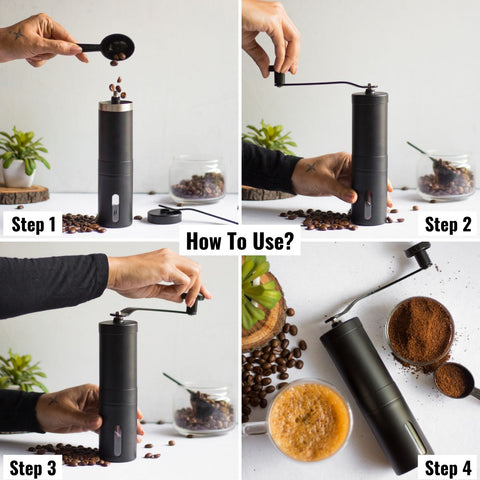Image of InstaCuppa Manual Hand Coffee Bean Grinder, Black Color - How To Grind Coffee Beans?
