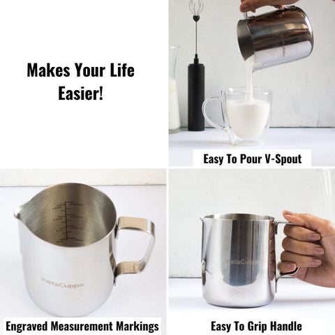 Image of InstaCuppa Stainless Steel Milk Frothing Pitcher 600 ml with Engraved Measurement Markings, Easy To Pour V-Spout, Easy To Grip Handle