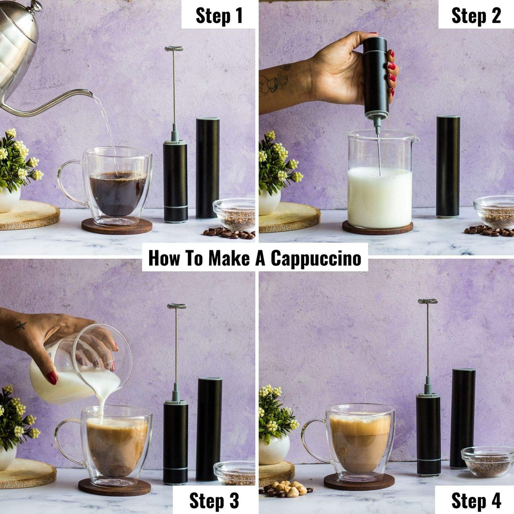InstaCuppa Travel Milk Frother and Borosilicate Glass Frothing Pitcher 600 ML Combo, Battery Operated Handheld Electric Coffee Beater, Includes Steel Stand