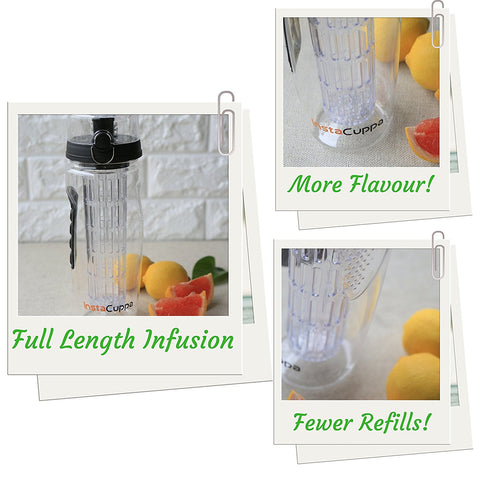InstaCuppa Fruit Infuser Water Bottle 1 Litre, Tritan Infusion Unit, Detox Infused Recipe eBook, Carry Sleeve Cover (Black)