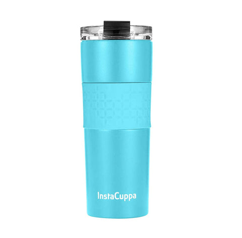 Image of InstaCuppa Stainless Steel Thermos Travel Mug with Double Walled Vacuum Insulation, Flip Top Sipper Lid, Anti-Slip Silicone Grip