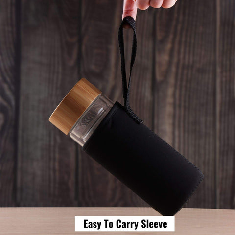 InstaCuppa Double Walled Glass Bottle, 450 ML with Neoprene Carry Sleeve, Heat Resistant Borosilicate, Hand Carved Bamboo Lid