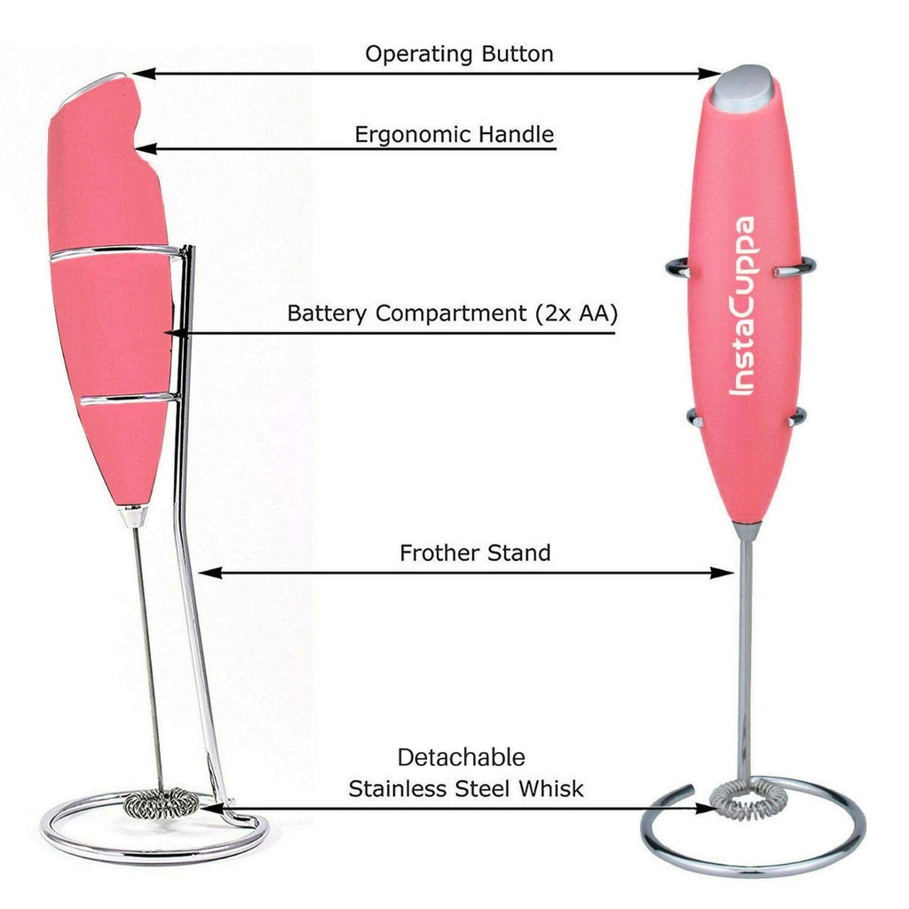 InstaCuppa Handheld Battery Operated Milk Frother / Coffee Beater, Pink Color - Technical Specifications