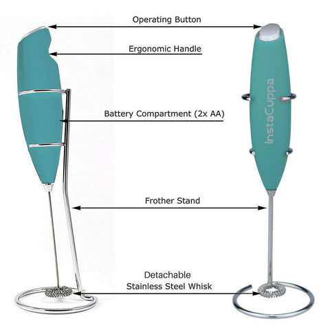 Image of InstaCuppa Handheld Battery Operated Milk Frother / Coffee Beater, Mint Green Color - Technical Specifications