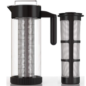 InstaCuppa Borosilicate Glass Infuser Pitcher 1300 ML, Idle for Cold Coffee and Iced Tea Brews, 2 Full Length Infusion Units, Neoprene Protective Sleeve, Free Recipes eBook