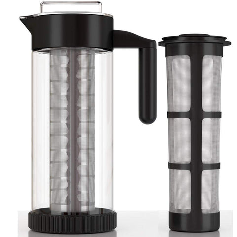InstaCuppa Borosilicate Glass Infuser Water Pitcher 1300 ML, Idle for Cold Brew Coffee, Fruit Infusion and Iced Tea Pot, Includes Steel & Mesh Infusion Units, Protective Sleeve, Recipes eBook