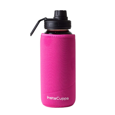 InstaCuppa Borosilicate Glass Water Bottle with Sports Sipper Lid, Innovative Time Markings, Neoprene Sleeve for Protection