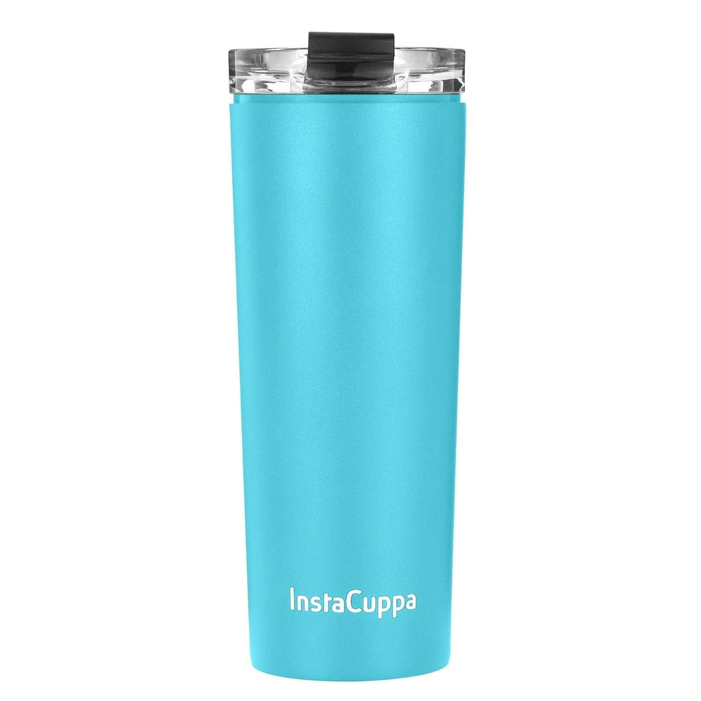 InstaCuppa Stainless Steel Thermos Travel Mug with Double Walled Vacuum Insulation, Flip Top Sipper Lid, Anti-Slip Silicone Grip