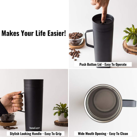 Image of InstaCuppa Vacuum Insulated Coffee, Tea Travel Mug 470 ML, Leak Proof Sipper Lid, Double Walled Thermos Flask, Black