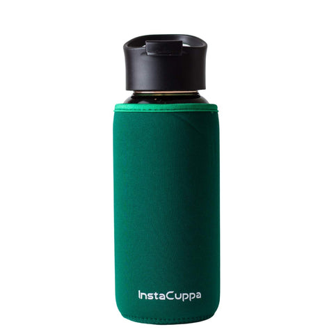 InstaCuppa Borosilicate Glass Water Bottle with Flip Top Sipper Lid, Innovative Time Markings, Neoprene Sleeve for Protection