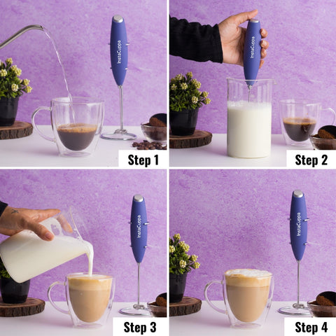 InstaCuppa Premium Milk Frother / Coffee Beater - Handheld and Battery Operated with Stainless Steel Whisk and Stand Included