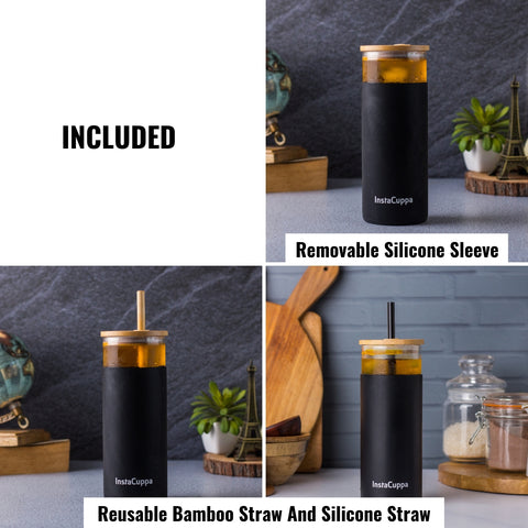 Image of InstaCuppa Borosilicate Glass Tumbler with 2 Unique Straws and Bamboo Lid, Removable Silicone Protective Sleeve