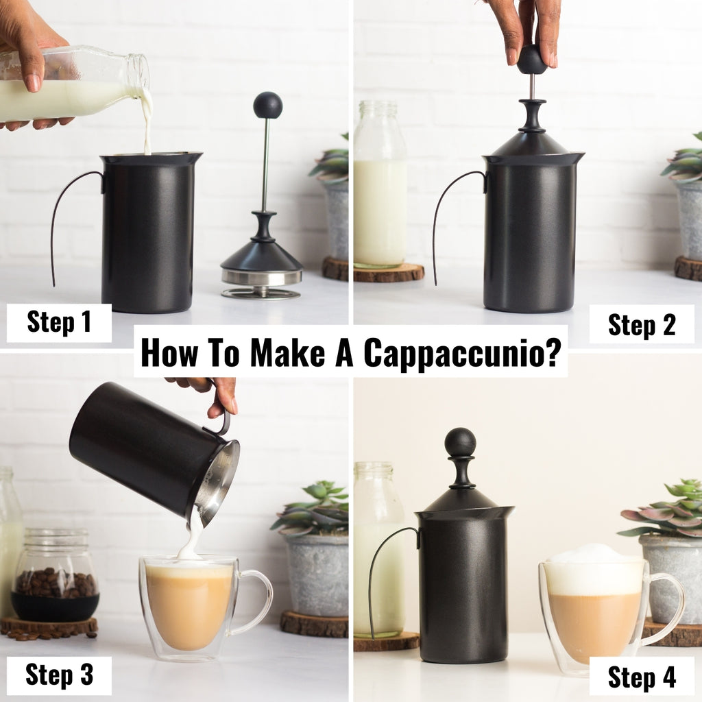InstaCuppa Stainless Steel Manual Milk Frother, Foam Maker with Double Layer Mesh Plunger, Easy To Grip Handle