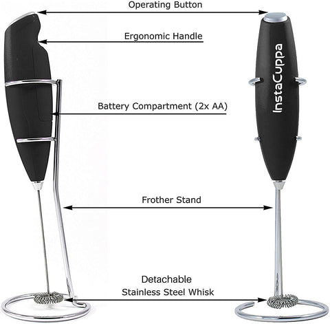 Image of InstaCuppa Handheld Battery Operated Milk Frother / Coffee Beater, Black Color - Technical Specifications