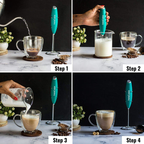 Image of InstaCuppa Handheld Battery Operated Milk Frother / Coffee Beater, Mint Green Color - How To Make A Cappuccino?