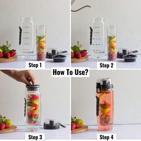 How to use InstaCuppa Fruit Infuser Water Bottle