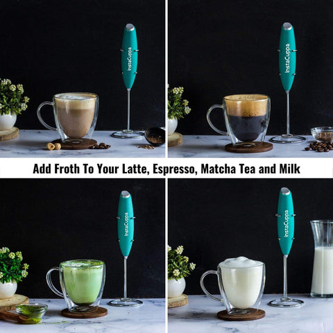 InstaCuppa Handheld Battery Operated Milk Frother / Coffee Beater, Mint Green Color - Add Froth To Your Latte's, Cappuccino's, Espresso, Matcha Tea and Milk In Just 15 to 20 Seconds