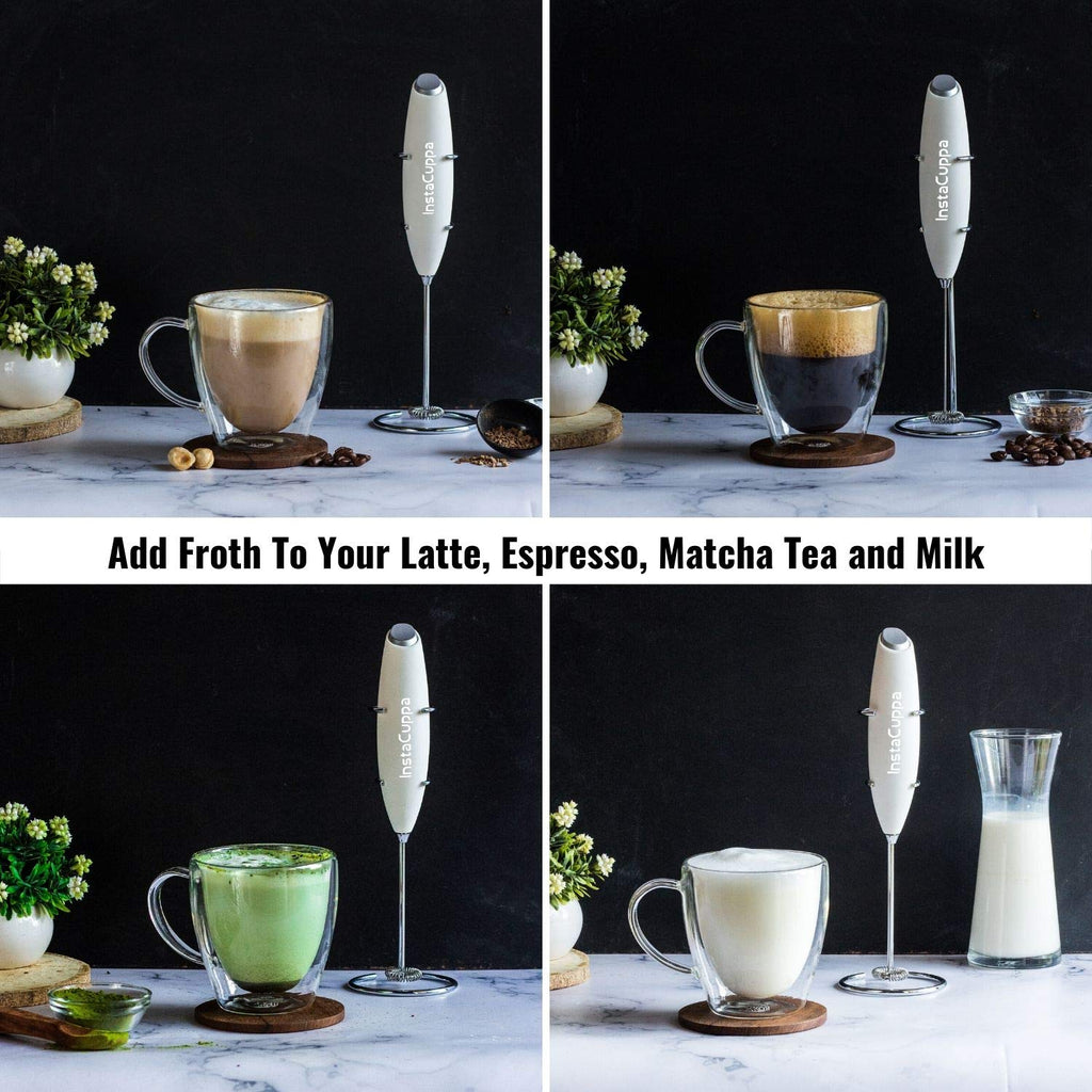 InstaCuppa Handheld Battery Operated Milk Frother / Coffee Beater, White Color - Add Froth To Your Latte's, Cappuccino's, Espresso, Matcha Tea and Milk In Just 15 to 20 Seconds