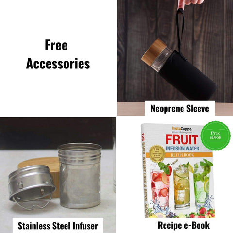 InstaCuppa Double Walled Glass Tea Infuser Bottle - Included Free Accessories