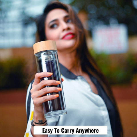 InstaCuppa Easy to Carry Glass Water Bottle