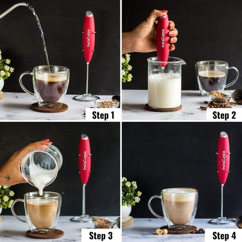 Image of InstaCuppa Handheld Battery Operated Milk Frother / Coffee Beater, Red Color - How To Make A Cappuccino?