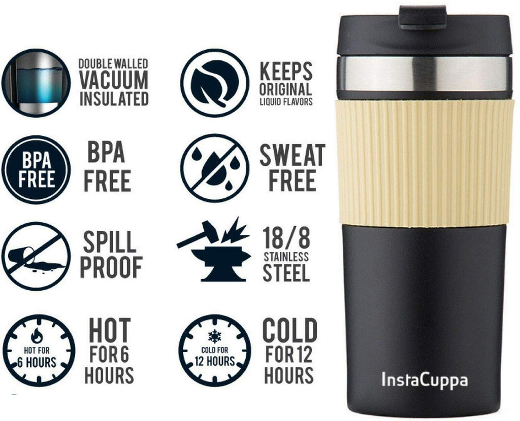 InstaCuppa Vacuum Insulated Coffee, Tea Travel Mug 400 ML, Sipper Lid, Double Walled Thermos Flask, Silicon Grip, Black