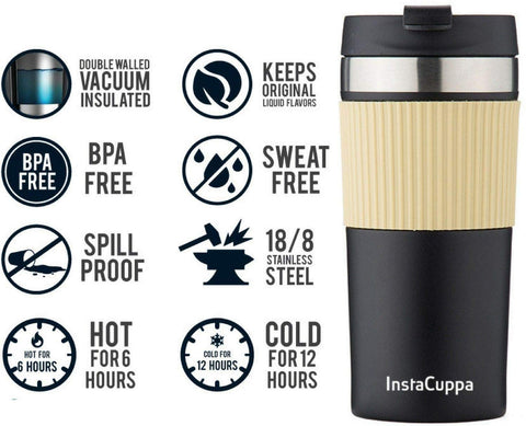 InstaCuppa Vacuum Insulated Coffee, Tea Travel Mug 400 ML/470 ML, Sipper Lid, Double Walled Thermos Flask, Silicon Grip , Black