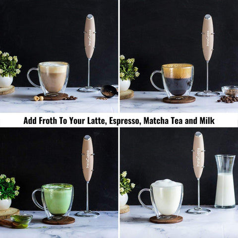 Image of InstaCuppa Handheld Battery Operated Milk Frother / Coffee Beater, Rose Gold Color - Add Froth To Your Latte's, Cappuccino's, Espresso, Matcha Tea and Milk In Just 15 to 20 Seconds