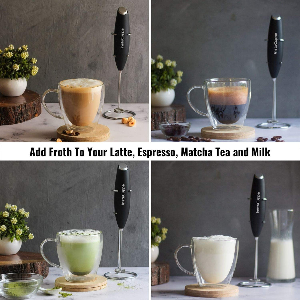 InstaCuppa Handheld Battery Operated Milk Frother / Coffee Beater, Black Color - Add Froth To Your Latte's, Cappuccino's, Espresso, Matcha Tea and Milk In Just 15 to 20 Seconds