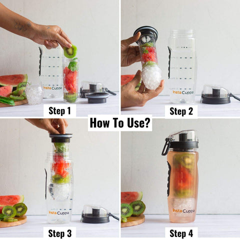 InstaCuppa Tritan Fruit Infuser Water Bottle 1 Litre with Reusable Ice Gel Ball - Polar Edition