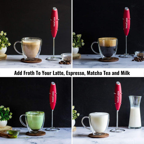 InstaCuppa Handheld Battery Operated Milk Frother / Coffee Beater, Red Color - Add Froth To Your Latte's, Cappuccino's, Espresso, Matcha Tea and Milk In Just 15 to 20 Seconds