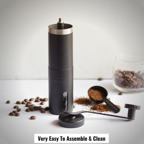 Image of InstaCuppa Manual Hand Coffee Bean Grinder - Very Easy To Assemble and Clean, Black Color